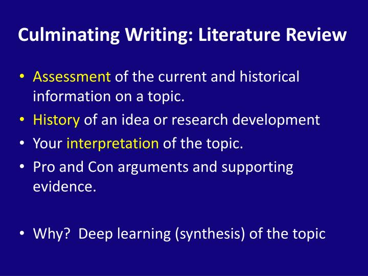 Culminating Writing: Literature Review