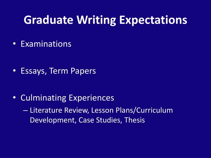 Graduate Writing Expectations
