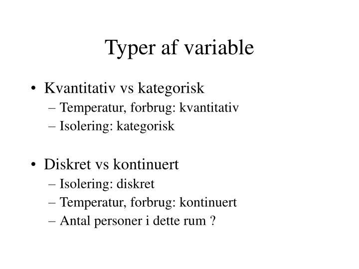 Typer af variable