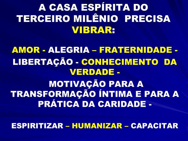 A CASA ESPÍRITA DO TERCEIRO MILÊNIO  PRECISA
