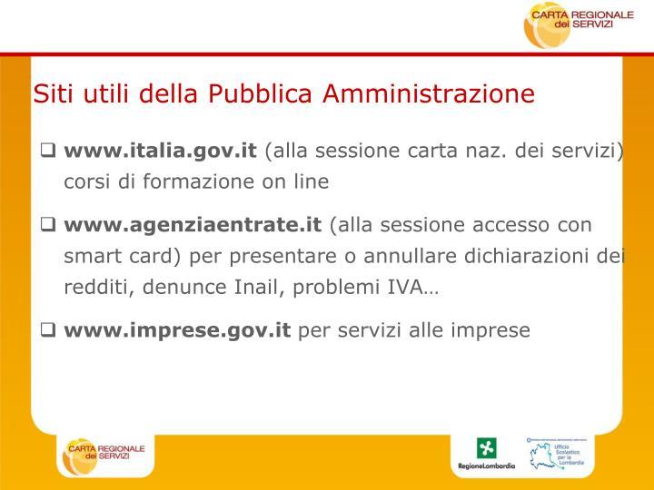Siti utili della Pubblica Amministrazione