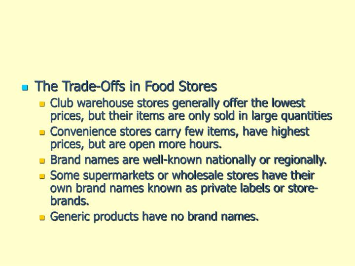 The Trade-Offs in Food Stores