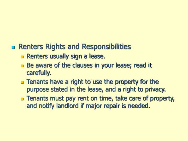 Renters Rights and Responsibilities