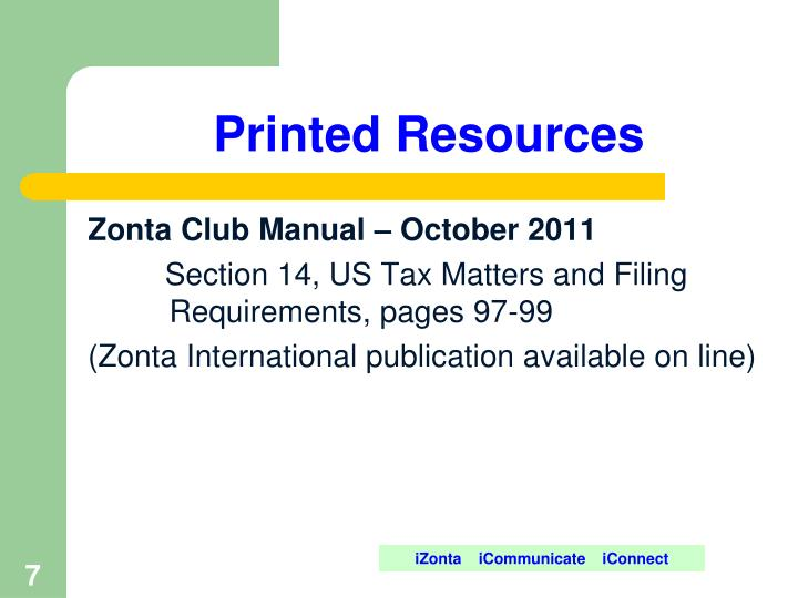 Printed Resources