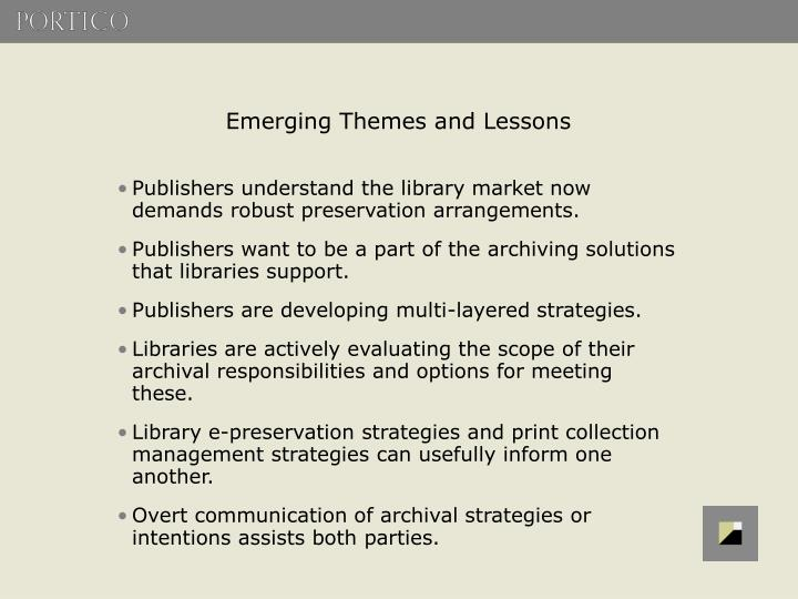 Emerging Themes and Lessons