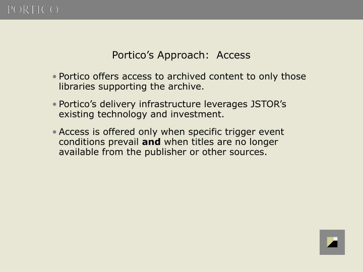 Portico's Approach:  Access