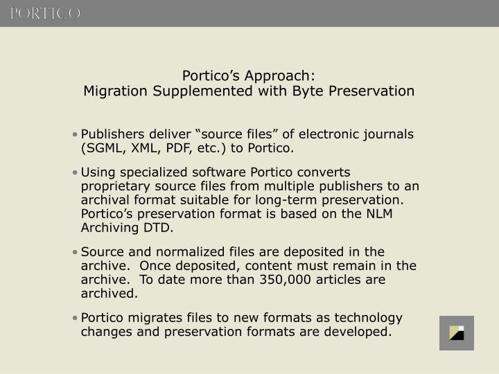 Portico's Approach: