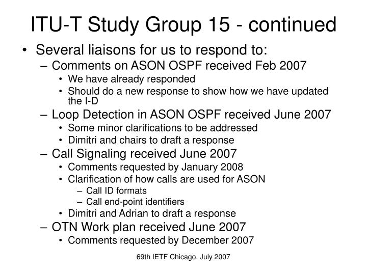 ITU-T Study Group 15 - continued