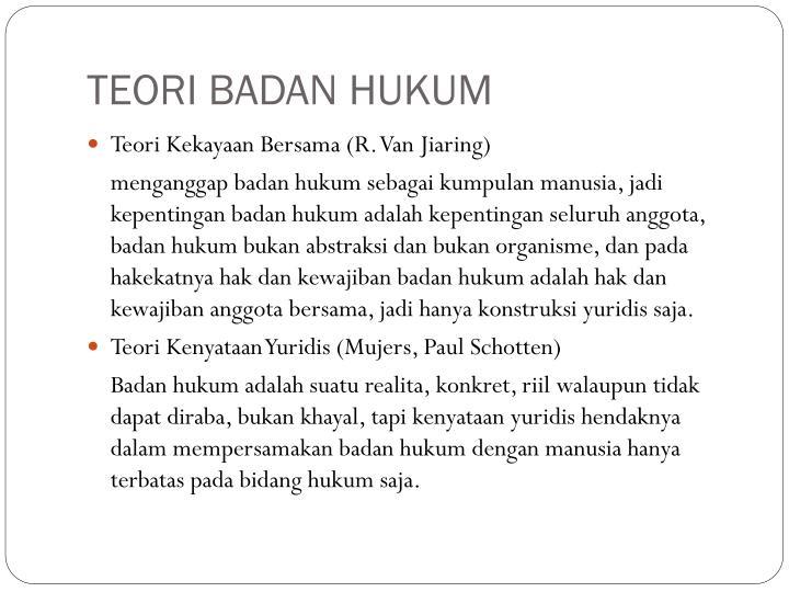 TEORI BADAN HUKUM