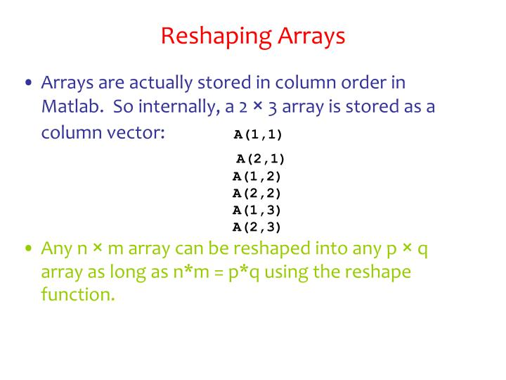 Reshaping Arrays