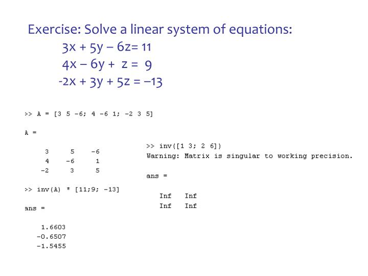 Exercise: Solve a linear system of equations: