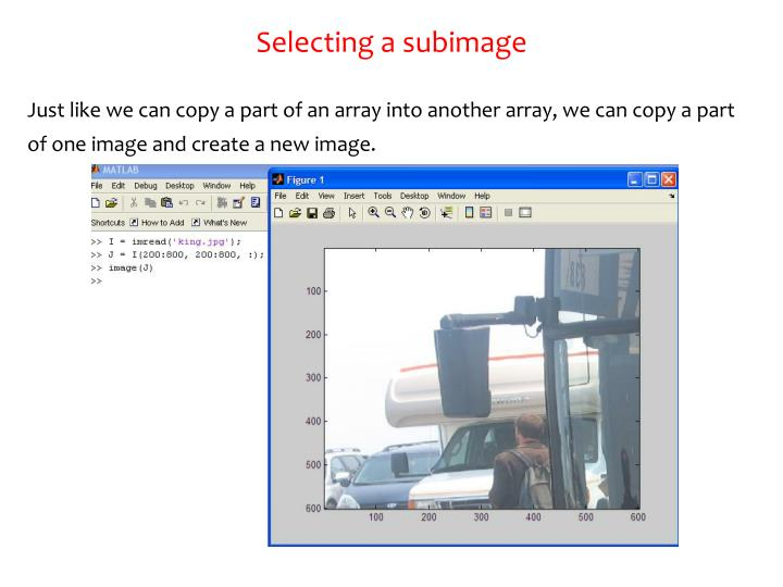 Selecting a subimage
