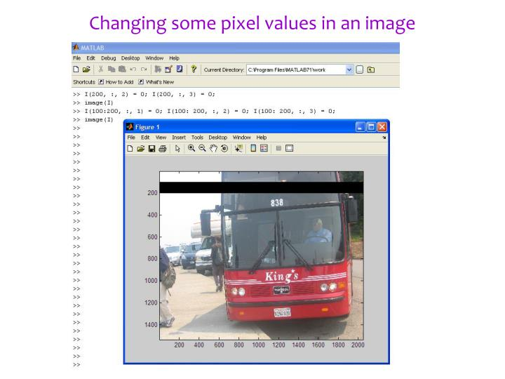 Changing some pixel values in an image