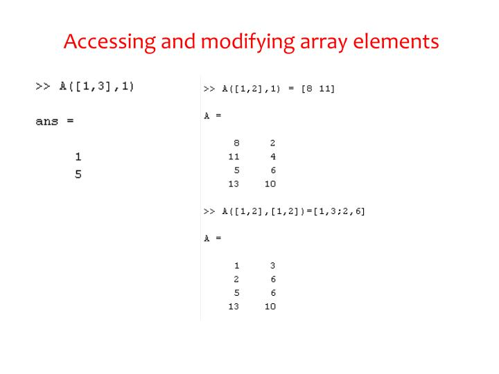 Accessing and modifying array elements
