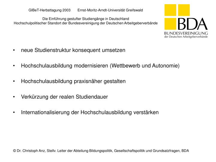 GIBeT-Herbsttagung 2003       Ernst-Moritz-Arndt-Universität Greifswald