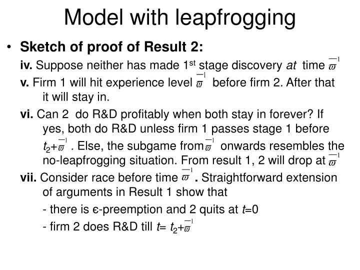 Model with leapfrogging