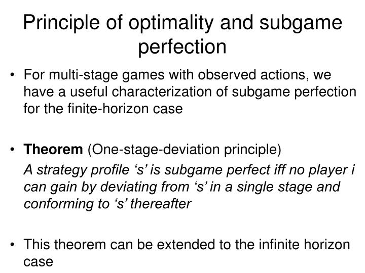 Principle of optimality and subgame perfection