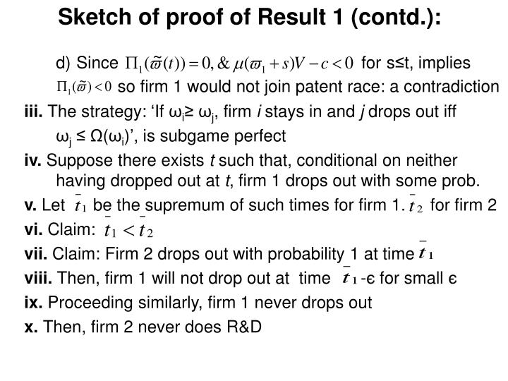 Sketch of proof of Result 1 (contd.):