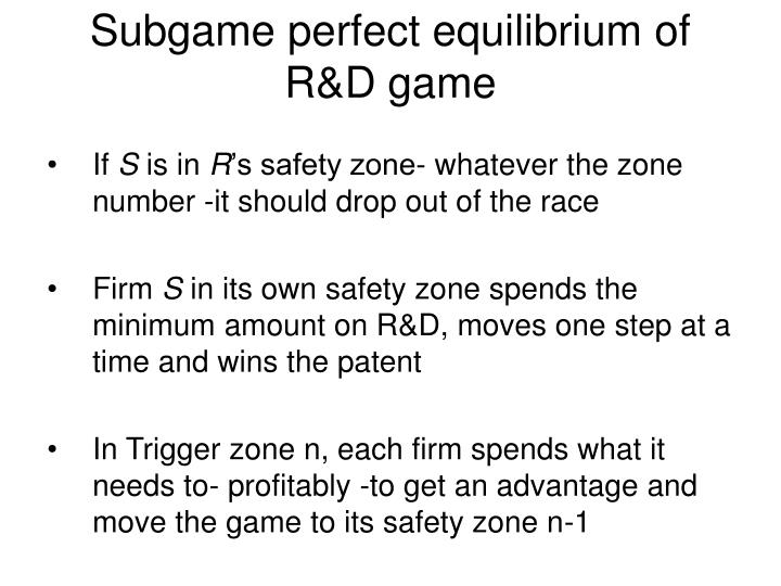 Subgame perfect equilibrium of R&D game