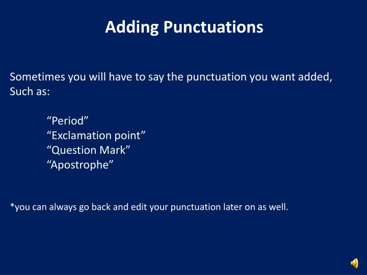 Adding Punctuations