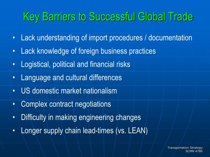Key Barriers to Successful Global Trade