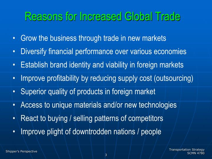 Reasons for increased global trade