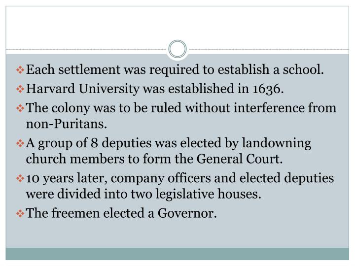 Each settlement was required to establish a school.