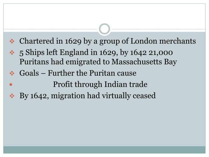 Chartered in 1629 by a group of London merchants