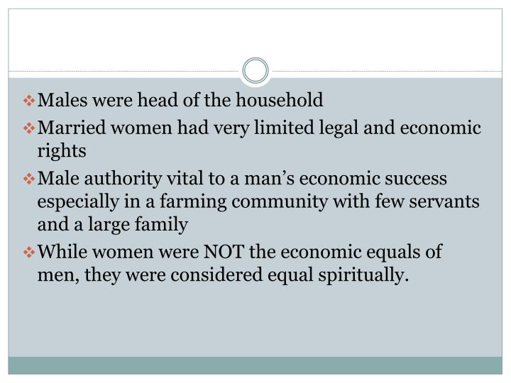 Males were head of the household