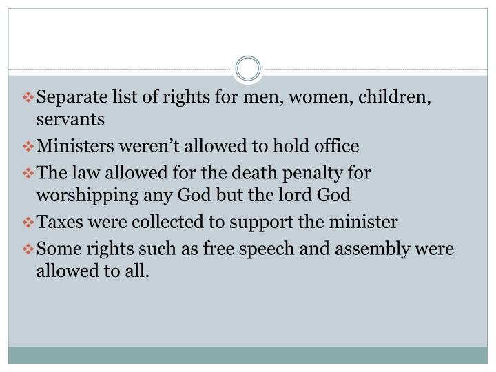 Separate list of rights for men, women, children, servants