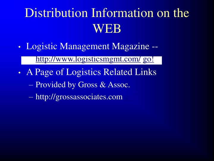Distribution Information on the WEB