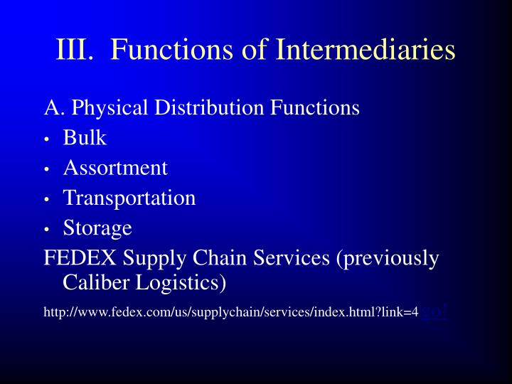 III.  Functions of Intermediaries