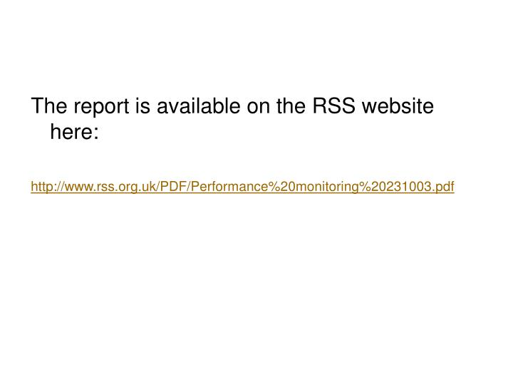 The report is available on the RSS website here: