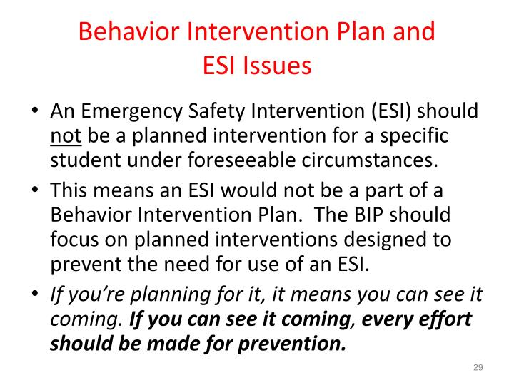 Behavior Intervention Plan and