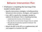 behavior intervention plan