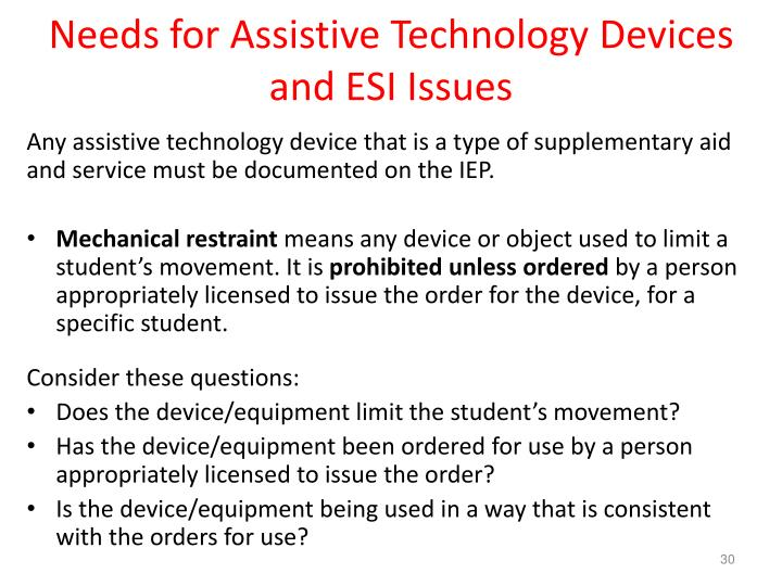 Needs for Assistive Technology Devices and ESI Issues