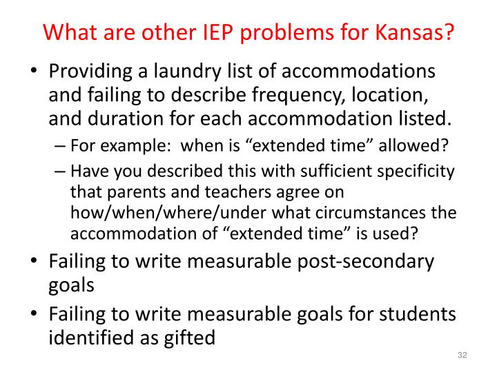 What are other IEP problems for Kansas?