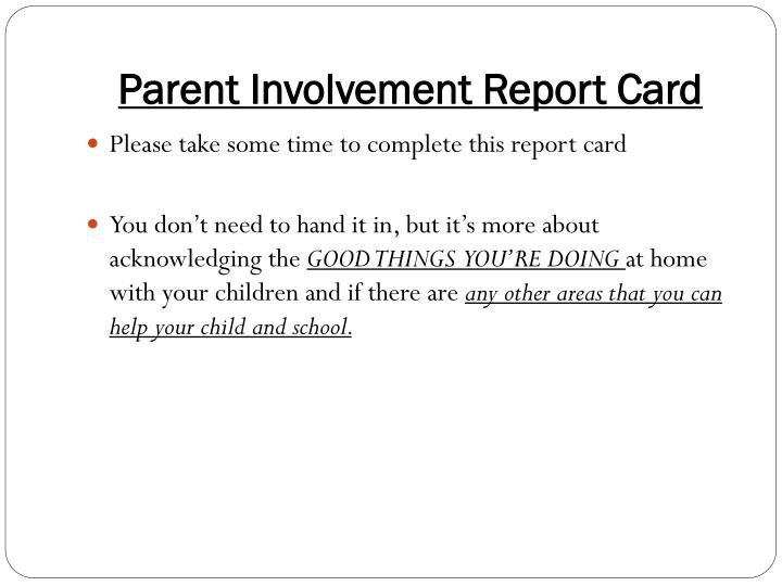 Parent Involvement Report Card