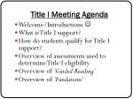 title i meeting agenda