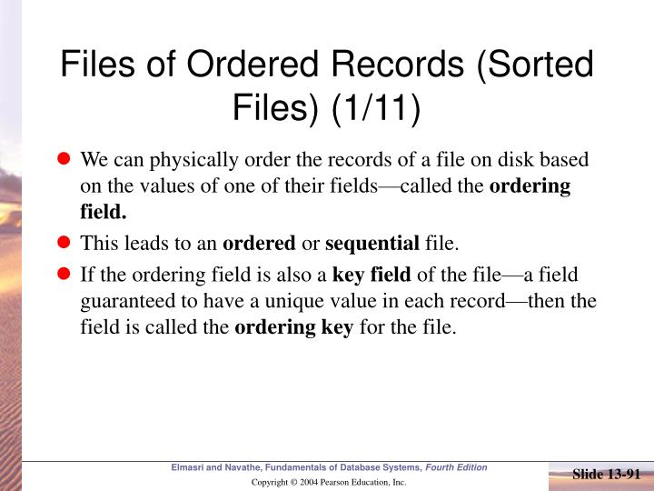 Files of Ordered Records (Sorted Files) (1/11)