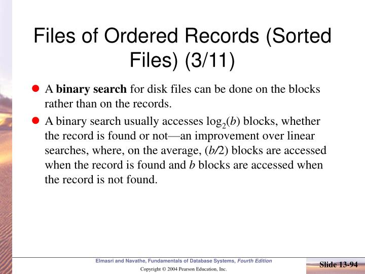 Files of Ordered Records (Sorted Files) (3/11)