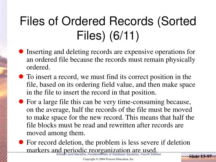 Files of Ordered Records (Sorted Files) (6/11)
