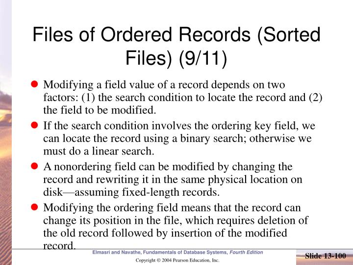 Files of Ordered Records (Sorted Files) (9/11)