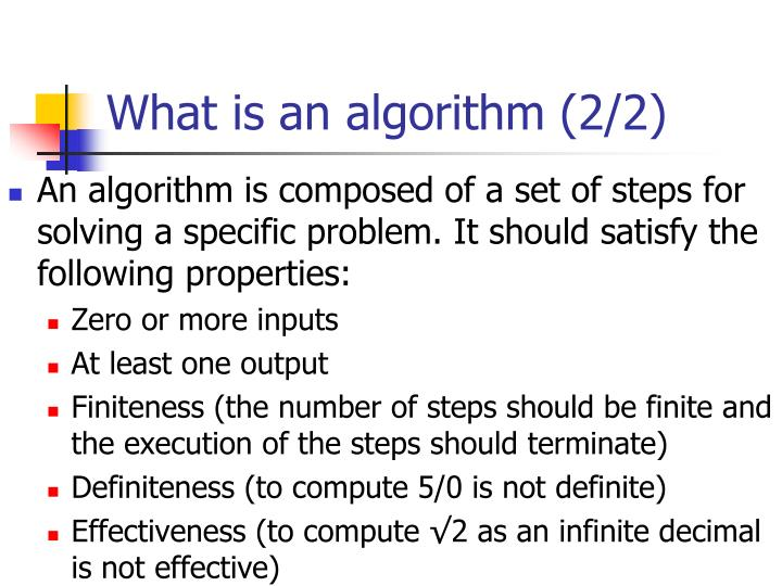 What is an algorithm (2/2)