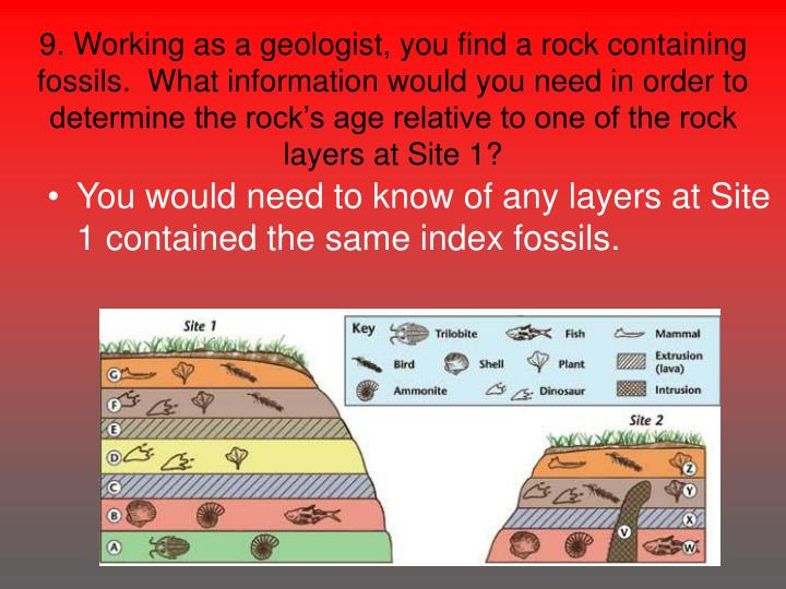9. Working as a geologist, you find a rock containing fossils.  What information would you need in order to determine the rock's age relative to one of the rock layers at Site 1?