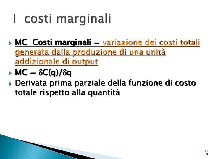 I  costi marginali