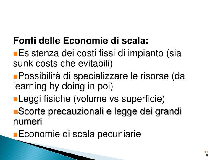 Fonti delle Economie di scala: