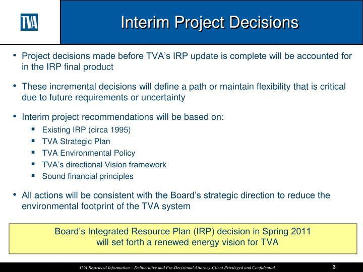 Interim Project Decisions