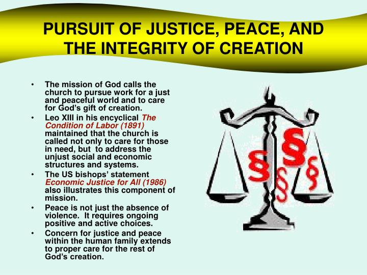 PURSUIT OF JUSTICE, PEACE, AND THE INTEGRITY OF CREATION