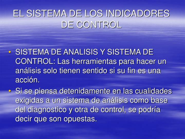 EL SISTEMA DE LOS INDICADORES DE CONTROL